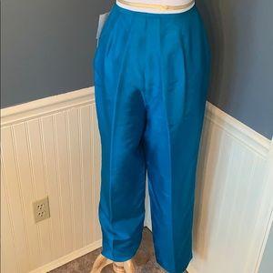 Papillon 100% Silk Turquoise Flat Front Pant 12